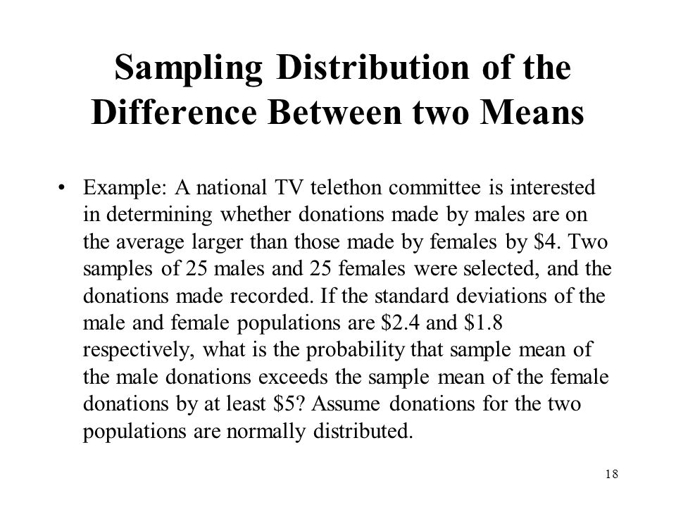 Sampling Distribution of the Difference Between two Means