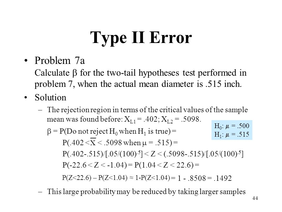 Type II Error Problem 7a Calculate b for the two-tail hypotheses test performed in problem 7, when the actual mean diameter is .515 inch.