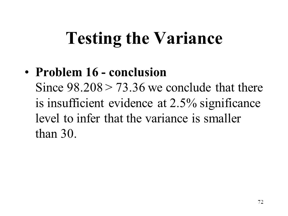 Testing the Variance