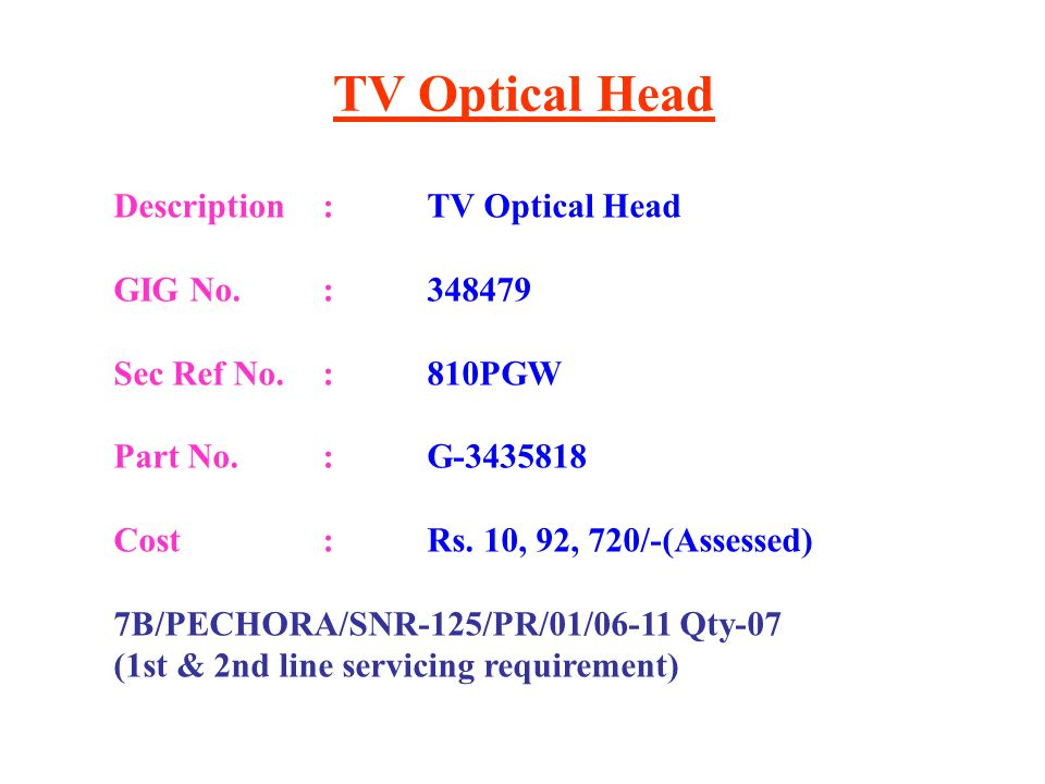 TV Optical Head Description : TV Optical Head GIG No. : 348479