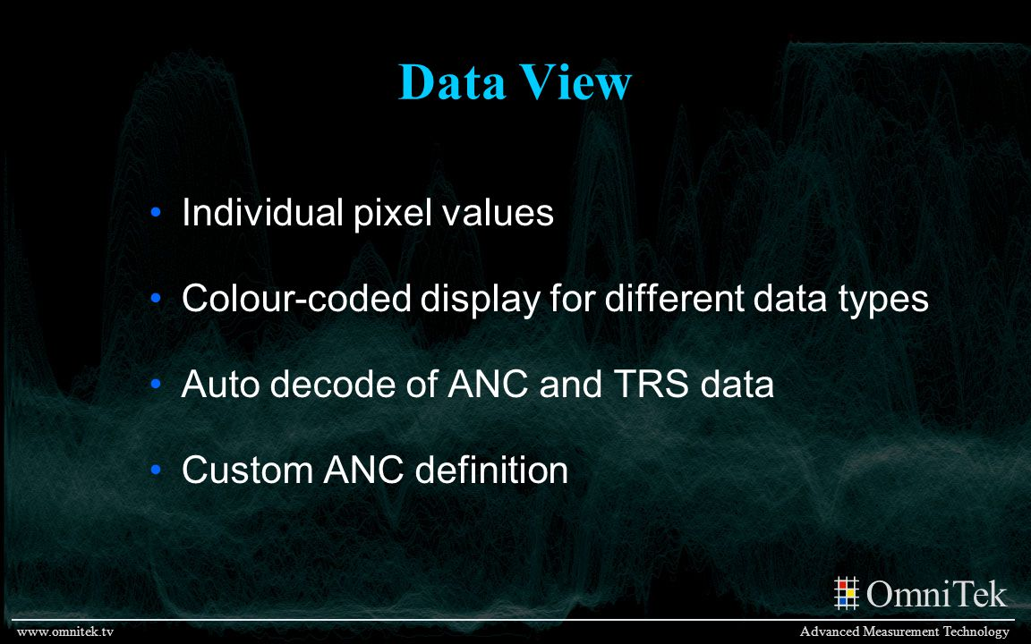Data View Individual pixel values
