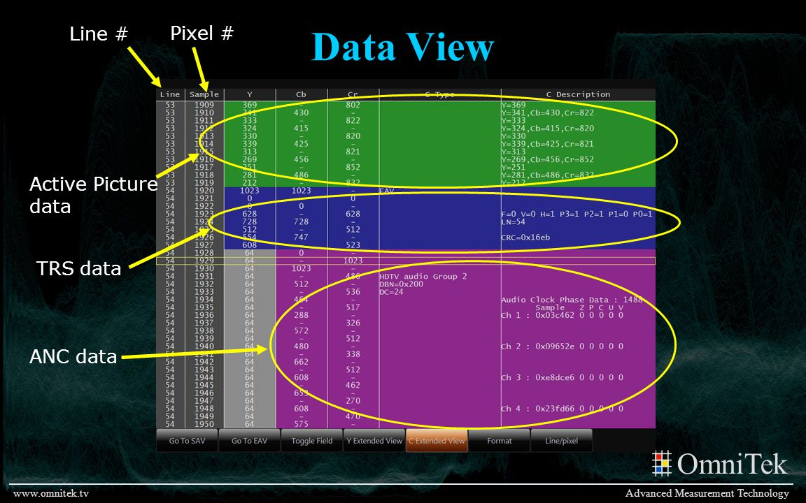 Data View Line # Pixel # Active Picture data TRS data ANC data
