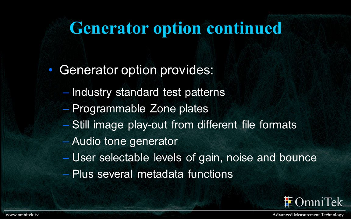 Generator option continued