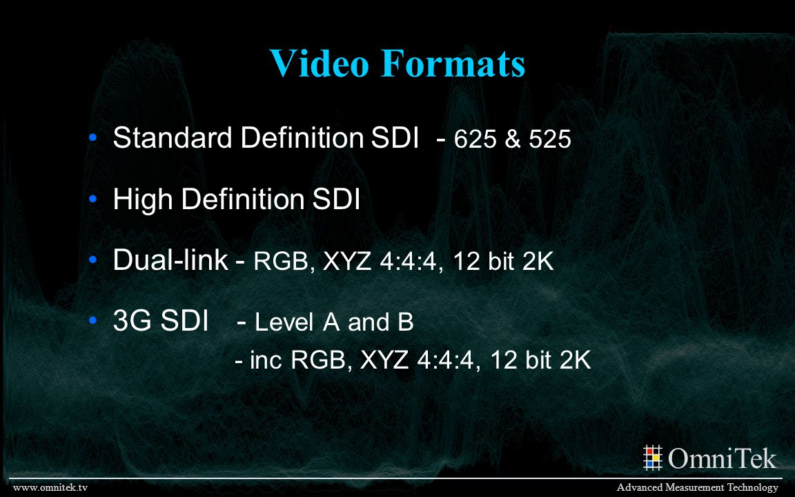 Video Formats Standard Definition SDI - 625 & 525 High Definition SDI