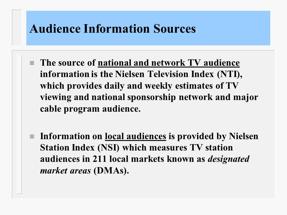Audience Information Sources