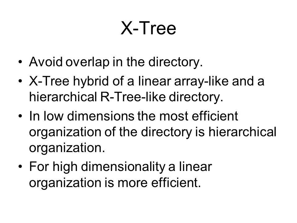 X-Tree Avoid overlap in the directory.