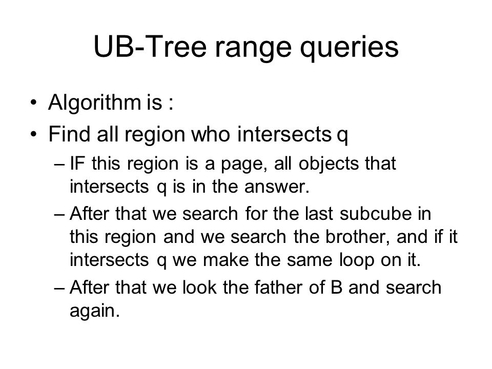 UB-Tree range queries Algorithm is : Find all region who intersects q