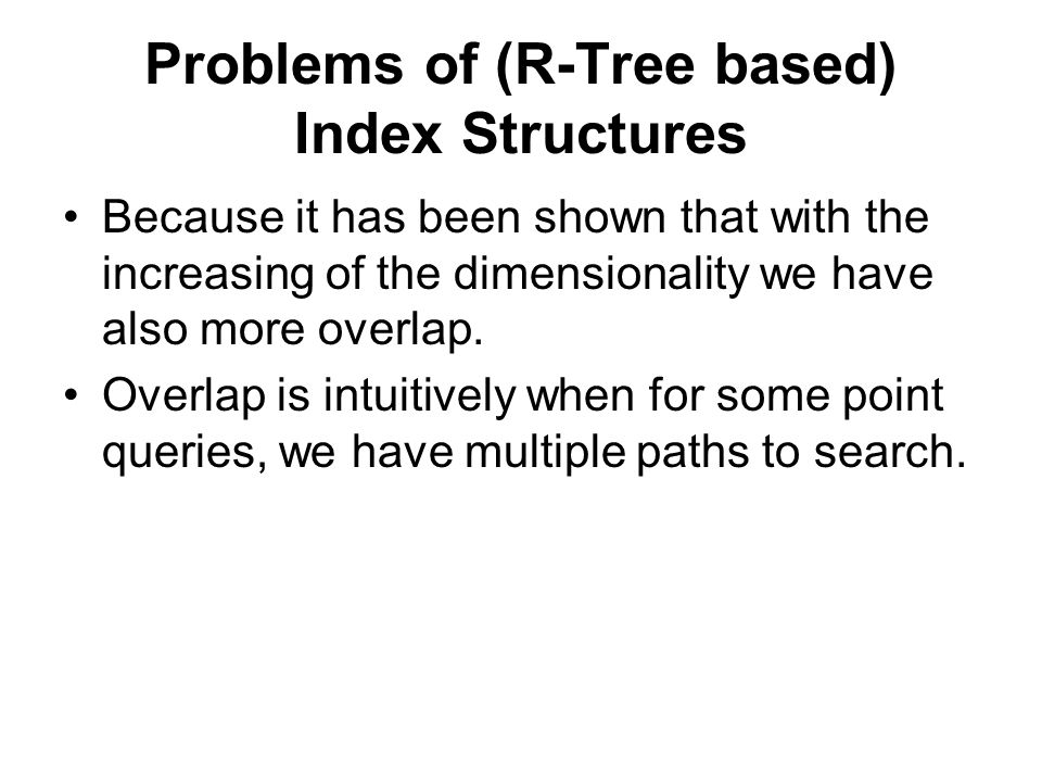 Problems of (R-Tree based) Index Structures