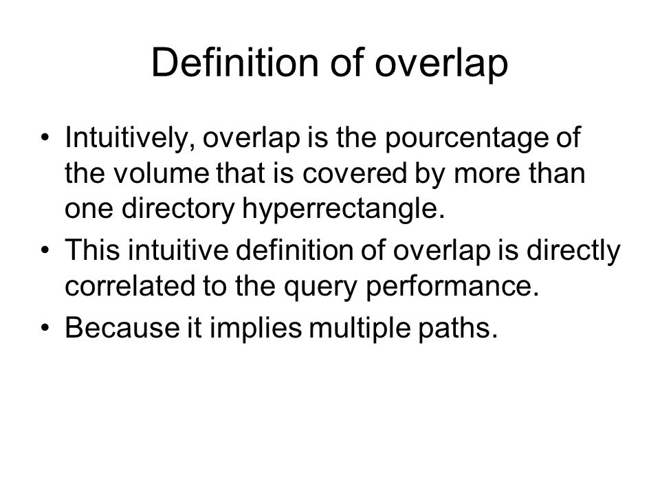 Definition of overlap Intuitively, overlap is the pourcentage of the volume that is covered by more than one directory hyperrectangle.