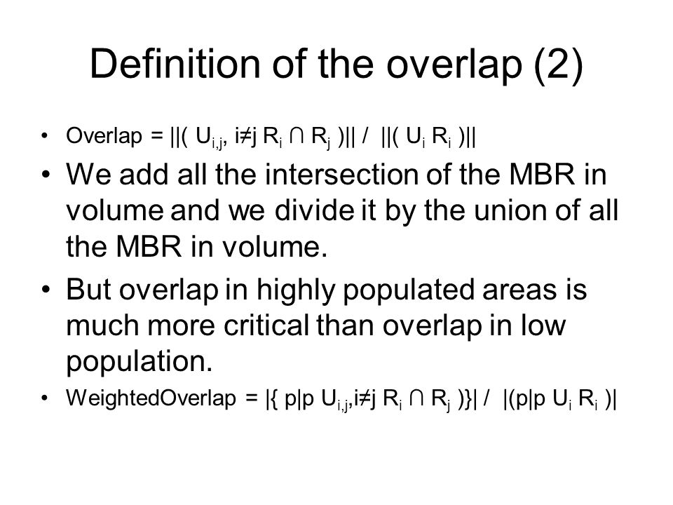 Definition of the overlap (2)