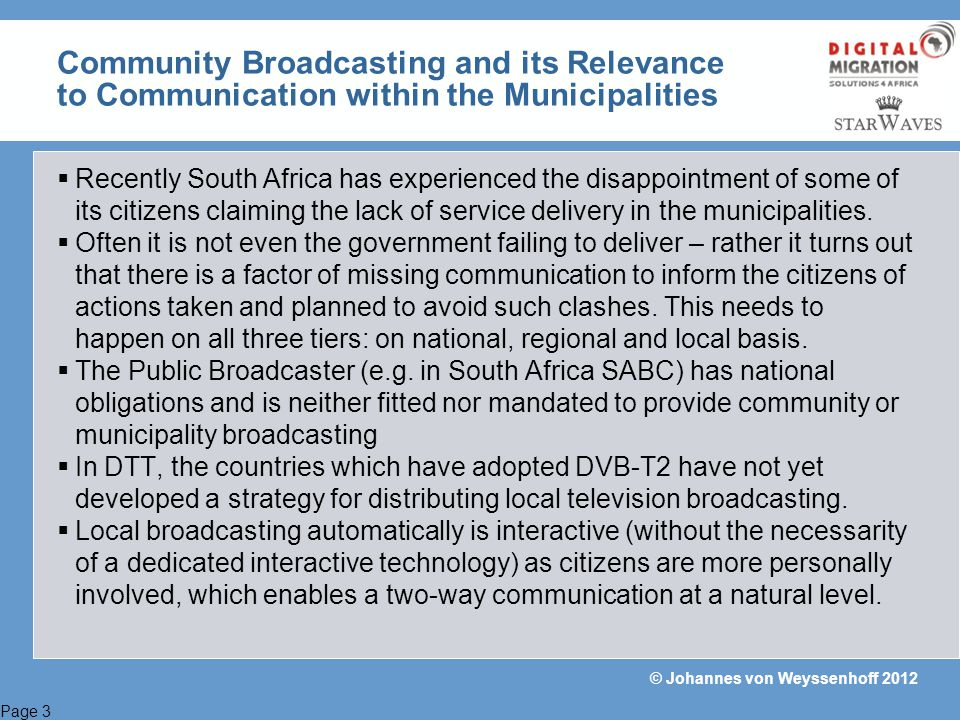 Community Broadcasting and its Relevance to Communication within the Municipalities