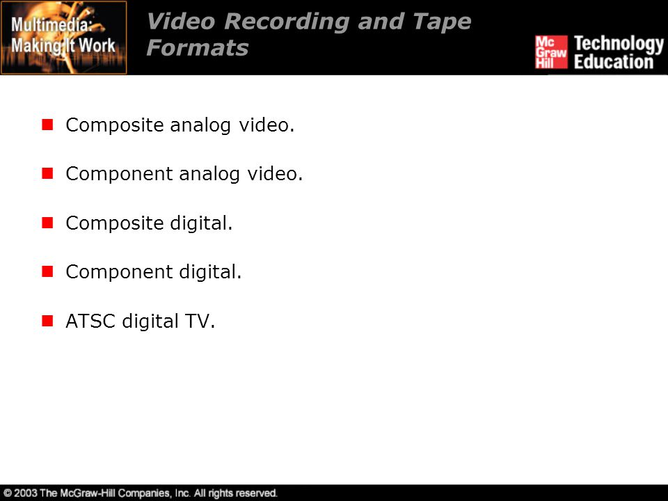 Video Recording and Tape Formats