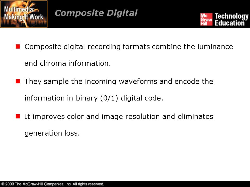 Composite Digital Composite digital recording formats combine the luminance and chroma information.