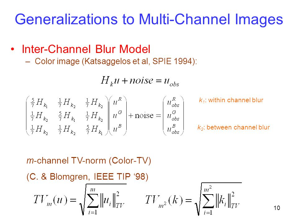 Generalizations to Multi-Channel Images