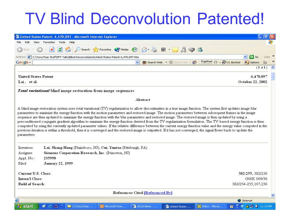 TV Blind Deconvolution Patented!