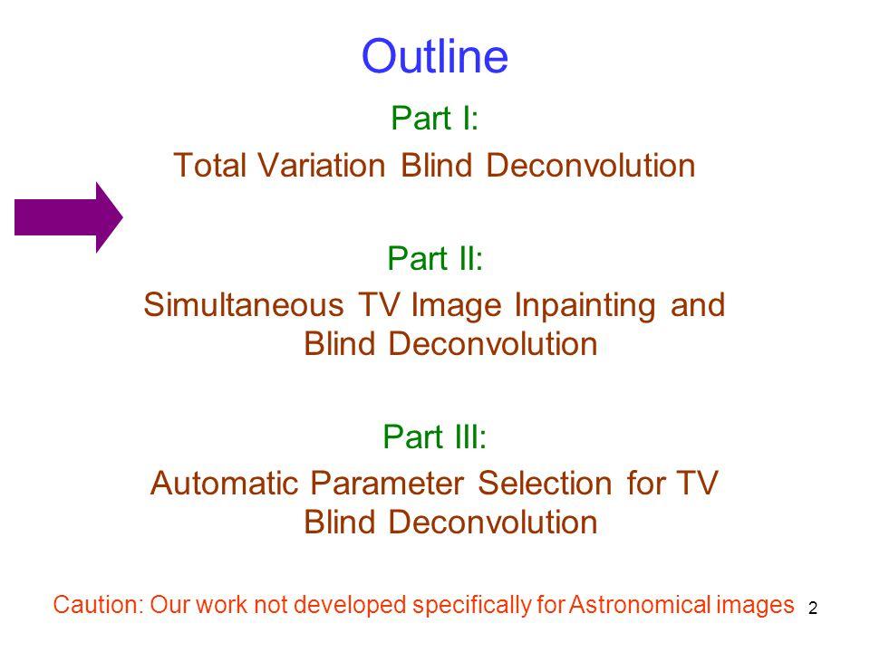 Outline Part I: Total Variation Blind Deconvolution Part II: