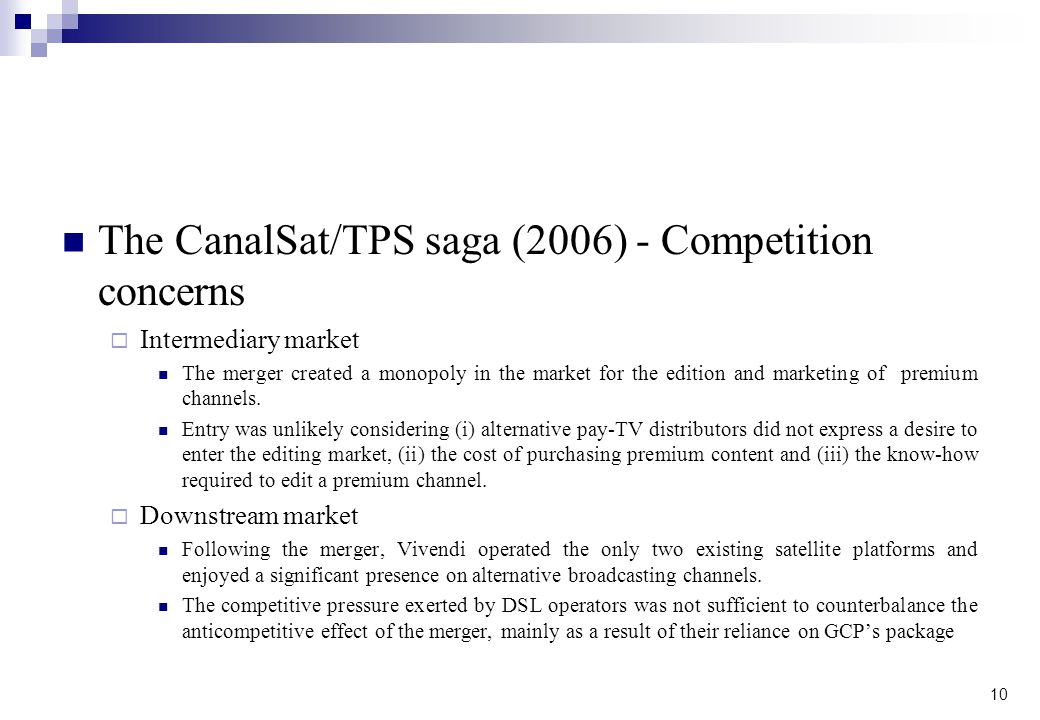 The CanalSat/TPS saga (2006) - Competition concerns