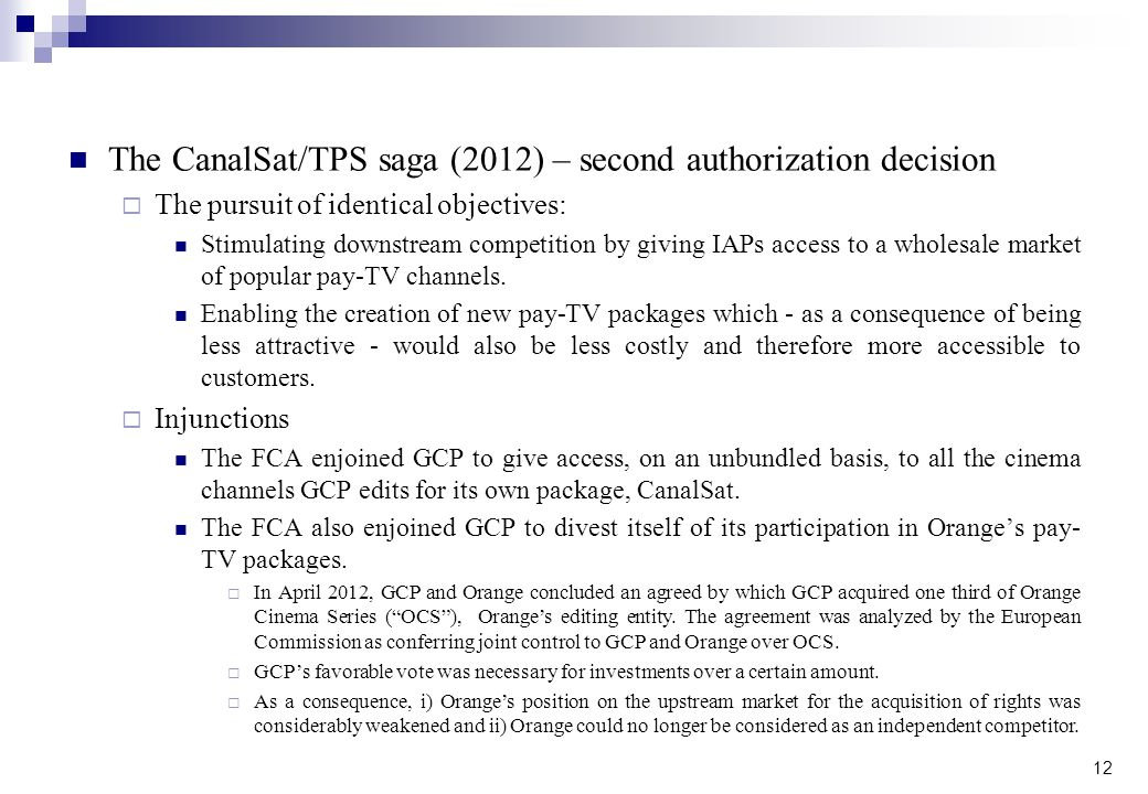 The CanalSat/TPS saga (2012) – second authorization decision