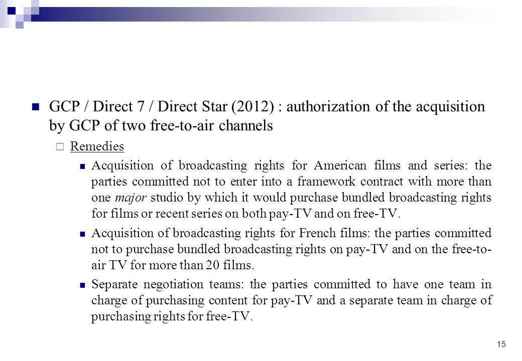 GCP / Direct 7 / Direct Star (2012) : authorization of the acquisition by GCP of two free-to-air channels