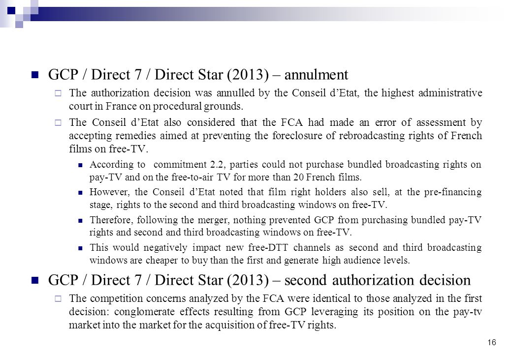 GCP / Direct 7 / Direct Star (2013) – annulment