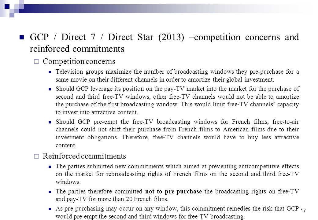GCP / Direct 7 / Direct Star (2013) –competition concerns and reinforced commitments