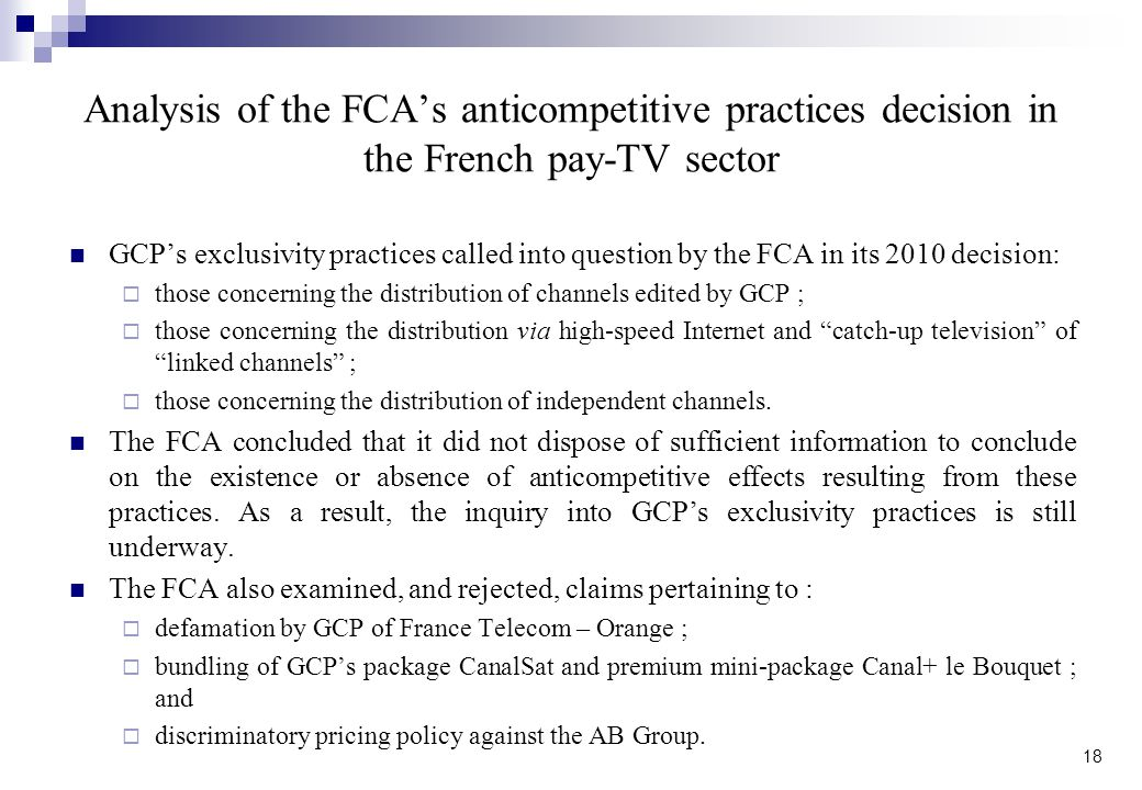 Analysis of the FCA's anticompetitive practices decision in the French pay-TV sector