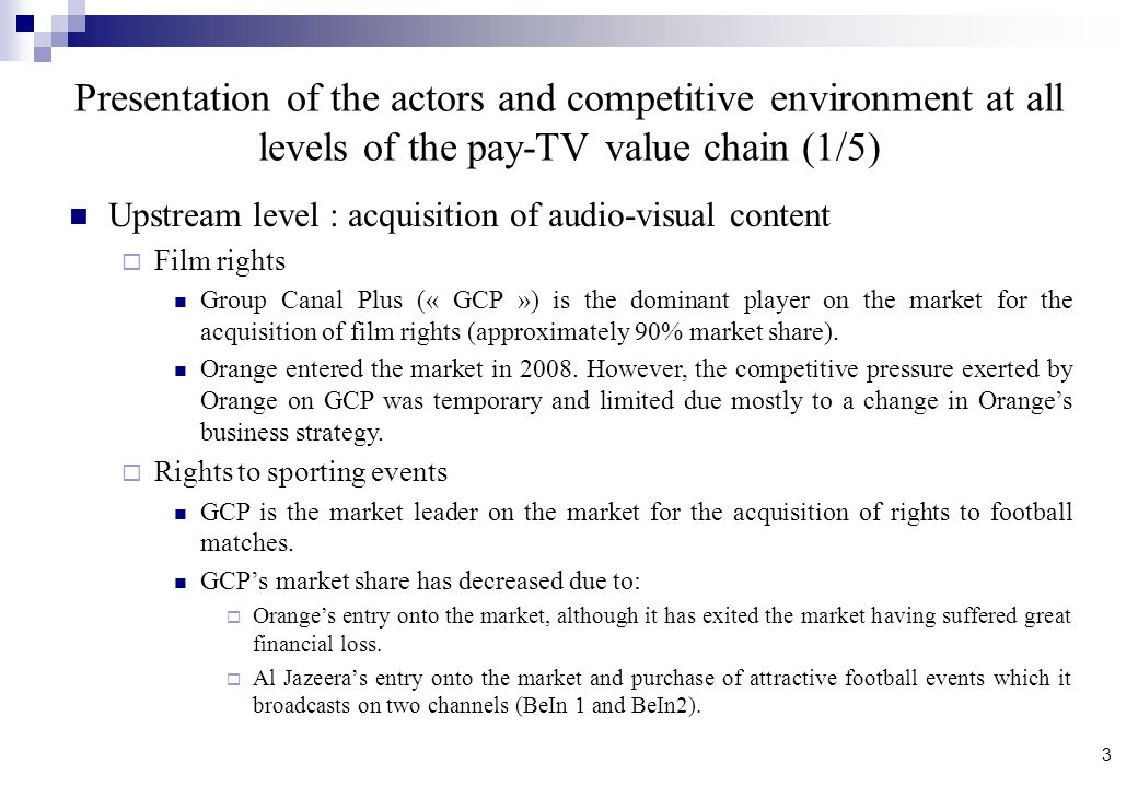 Presentation of the actors and competitive environment at all levels of the pay-TV value chain (1/5)