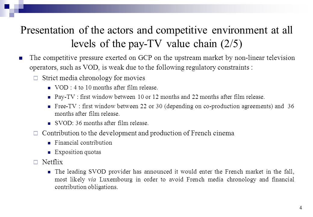 Presentation of the actors and competitive environment at all levels of the pay-TV value chain (2/5)