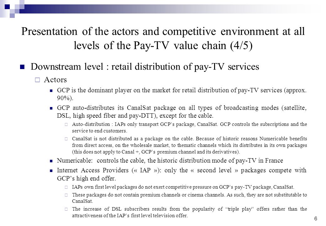 Presentation of the actors and competitive environment at all levels of the Pay-TV value chain (4/5)
