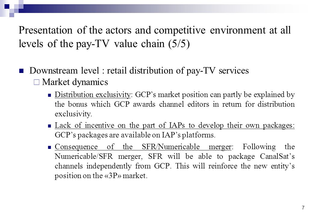 Presentation of the actors and competitive environment at all levels of the pay-TV value chain (5/5)