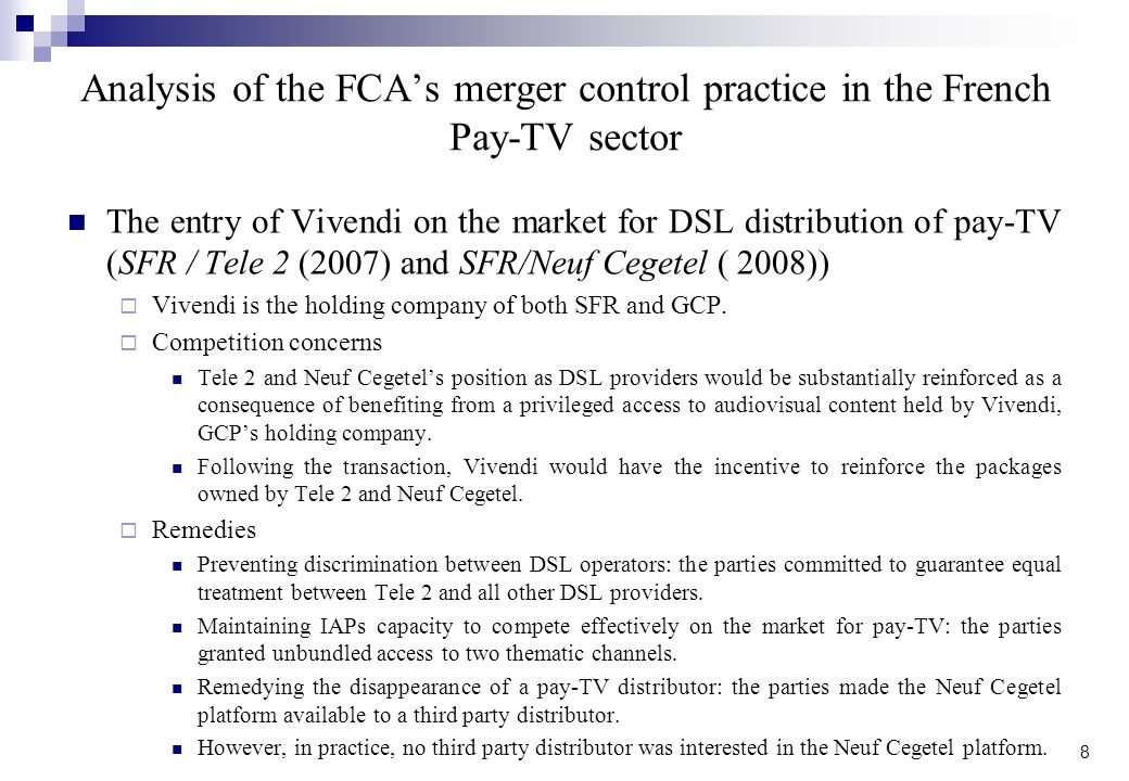 Analysis of the FCA's merger control practice in the French Pay-TV sector
