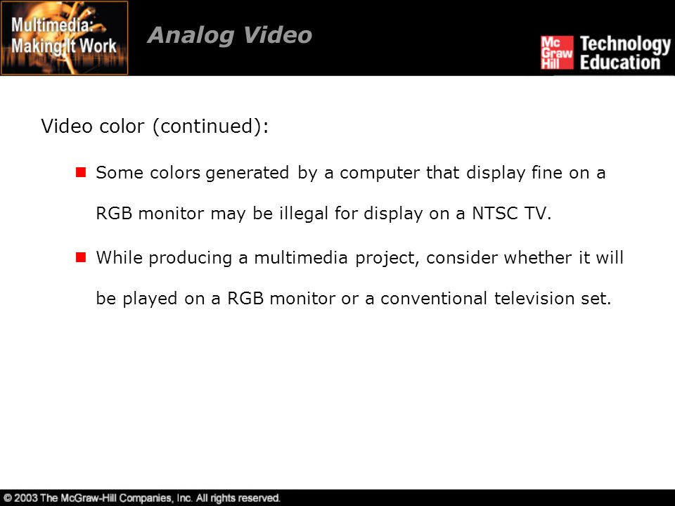 Analog Video Video color (continued):