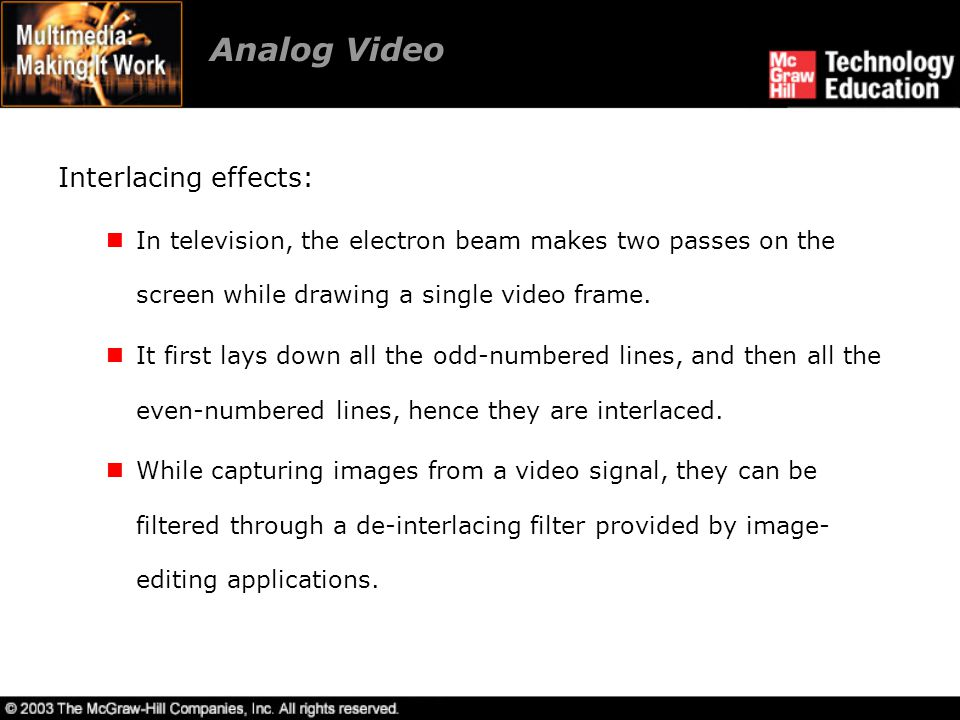 Analog Video Interlacing effects: