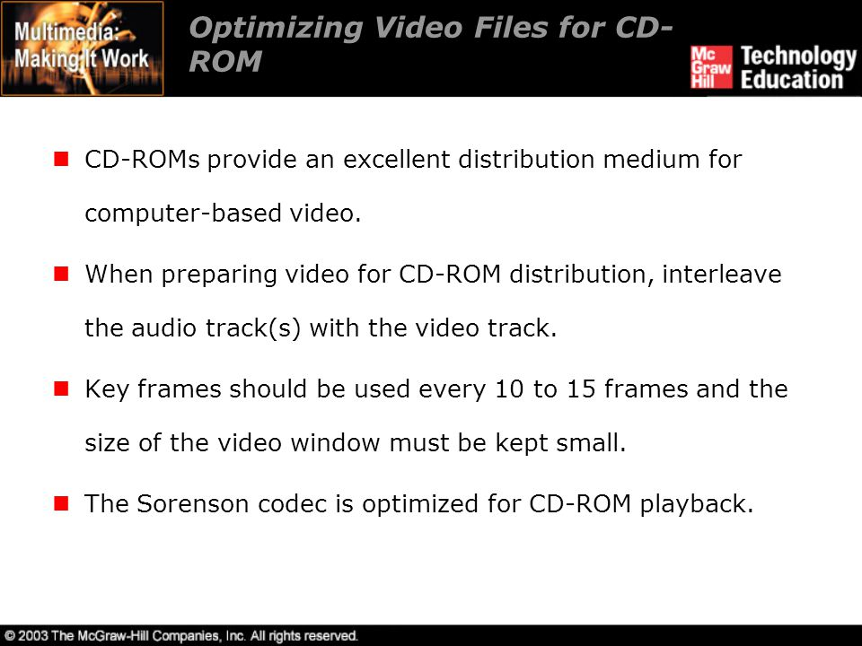 Optimizing Video Files for CD-ROM