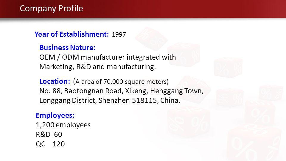 Company Profile Year of Establishment: 1997 Business Nature:
