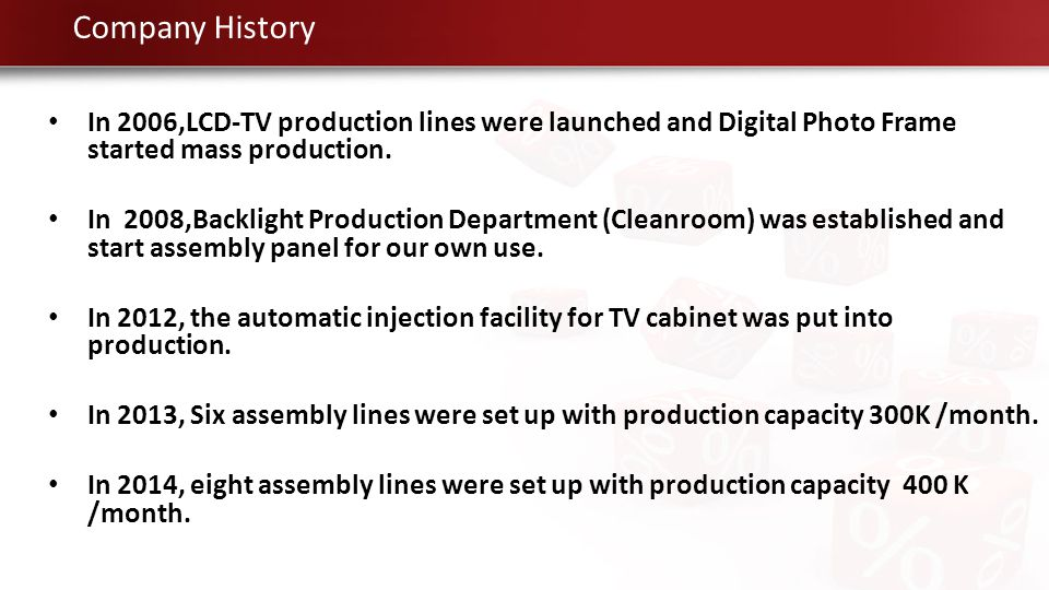 Company History In 2006,LCD-TV production lines were launched and Digital Photo Frame started mass production.