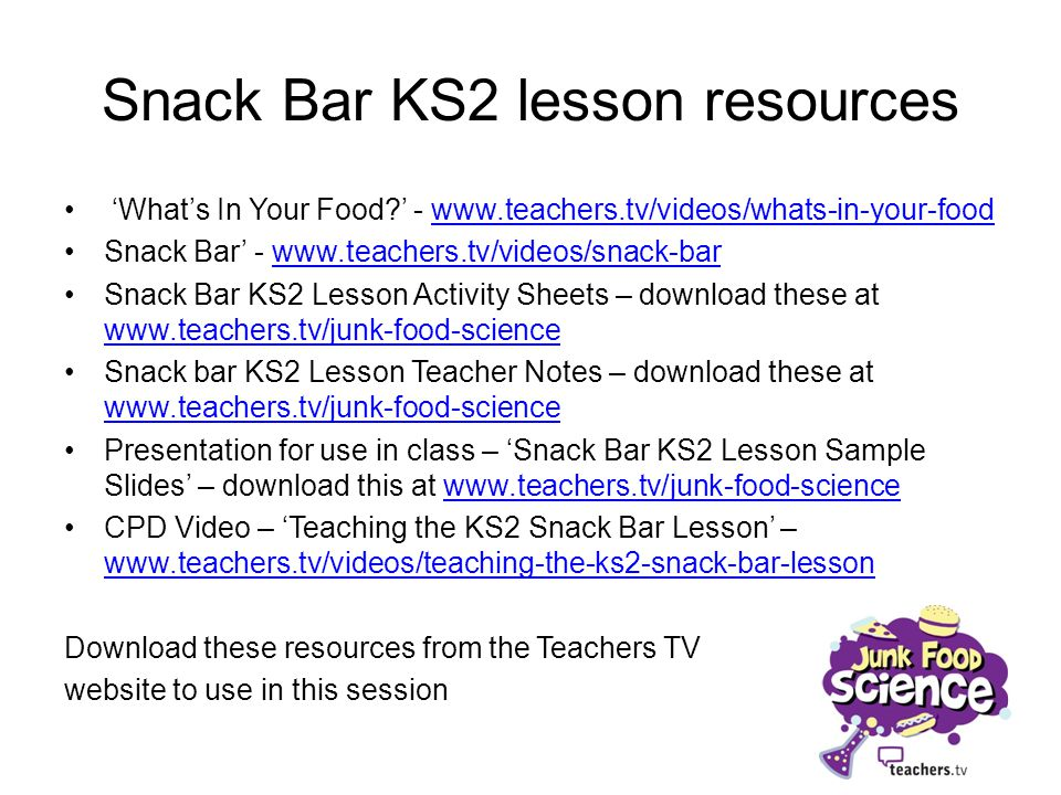 Snack Bar KS2 lesson resources