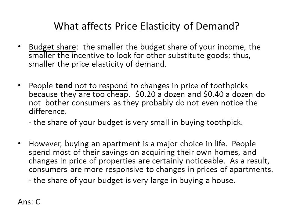 What affects Price Elasticity of Demand