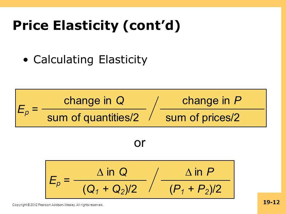 Price Elasticity (cont'd)