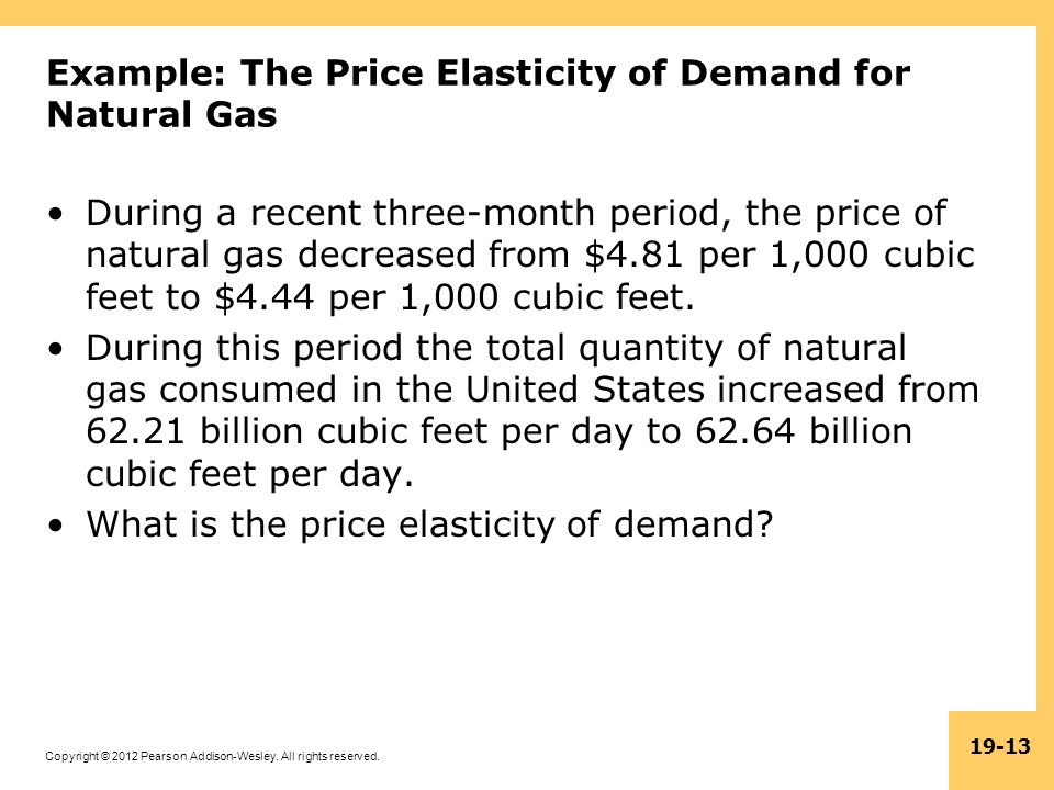 Example: The Price Elasticity of Demand for Natural Gas
