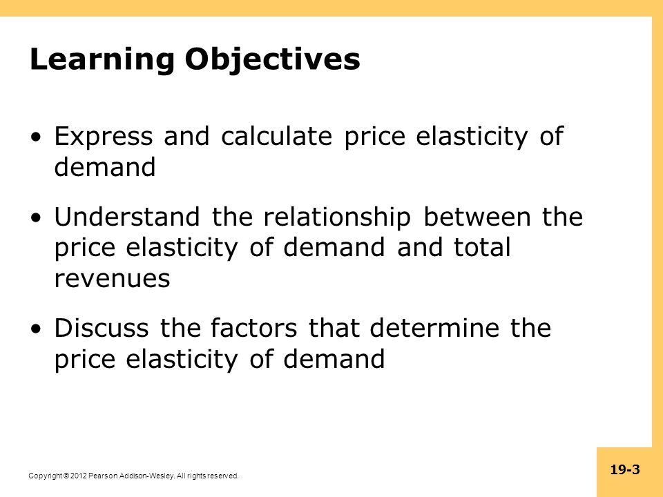 Learning Objectives Express and calculate price elasticity of demand