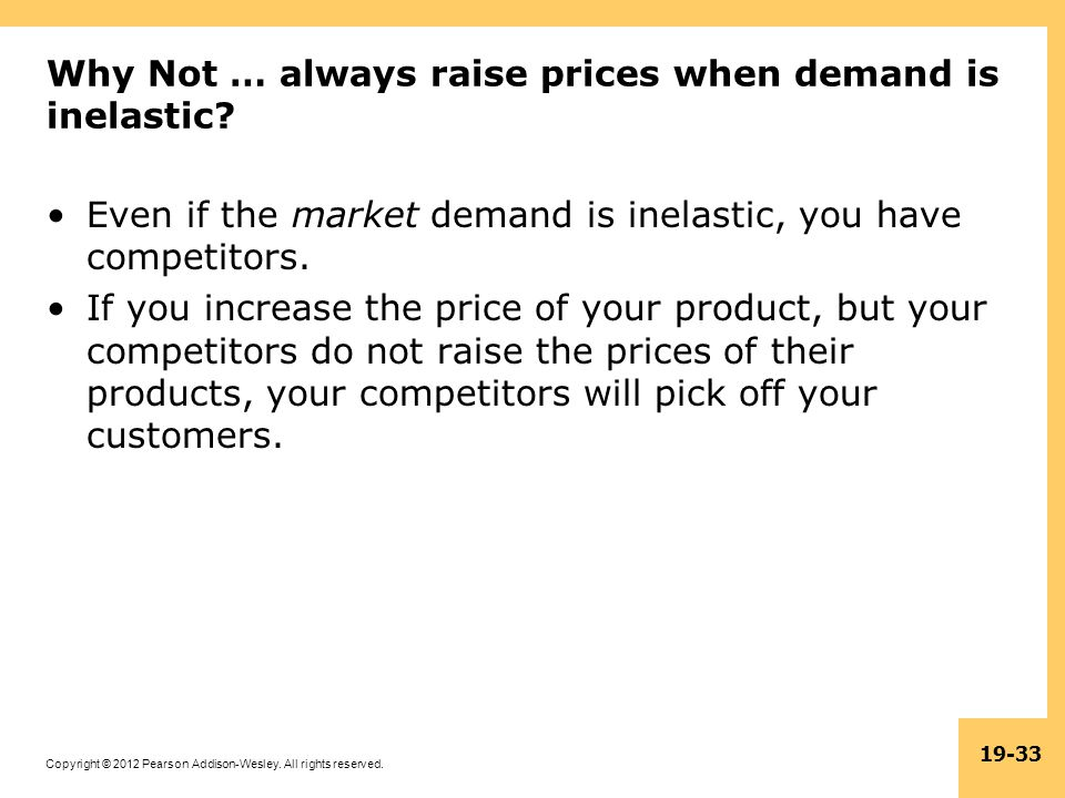 Why Not … always raise prices when demand is inelastic