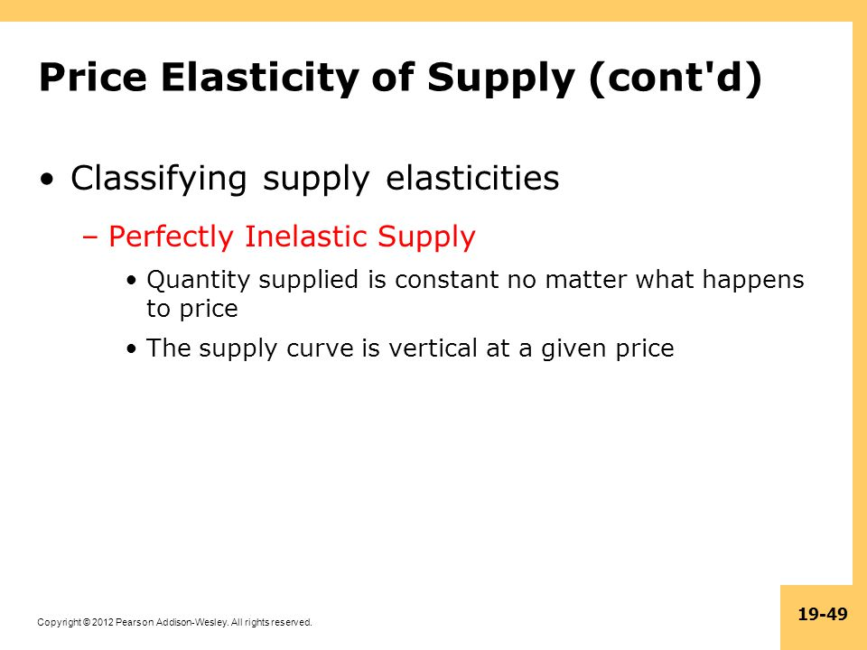 Price Elasticity of Supply (cont d)