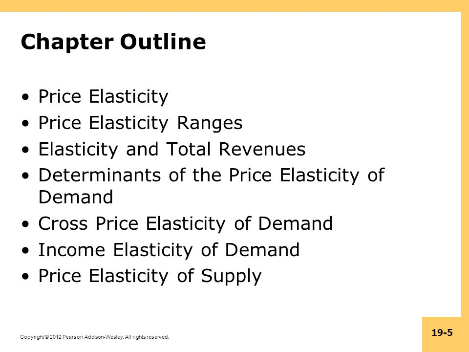 Chapter Outline Price Elasticity Price Elasticity Ranges
