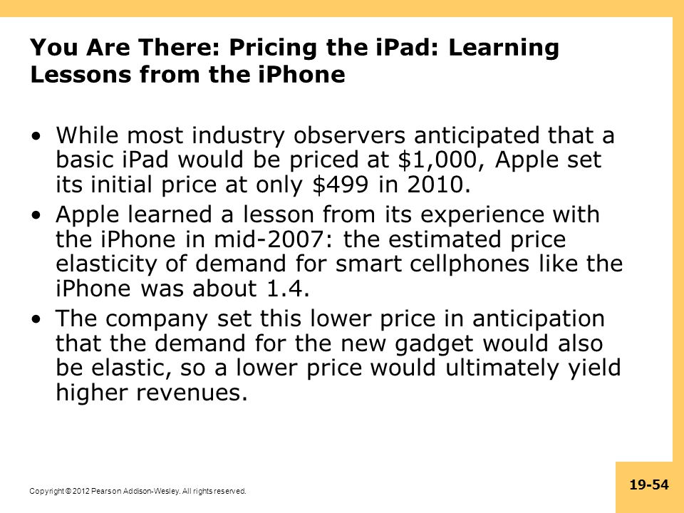 You Are There: Pricing the iPad: Learning Lessons from the iPhone