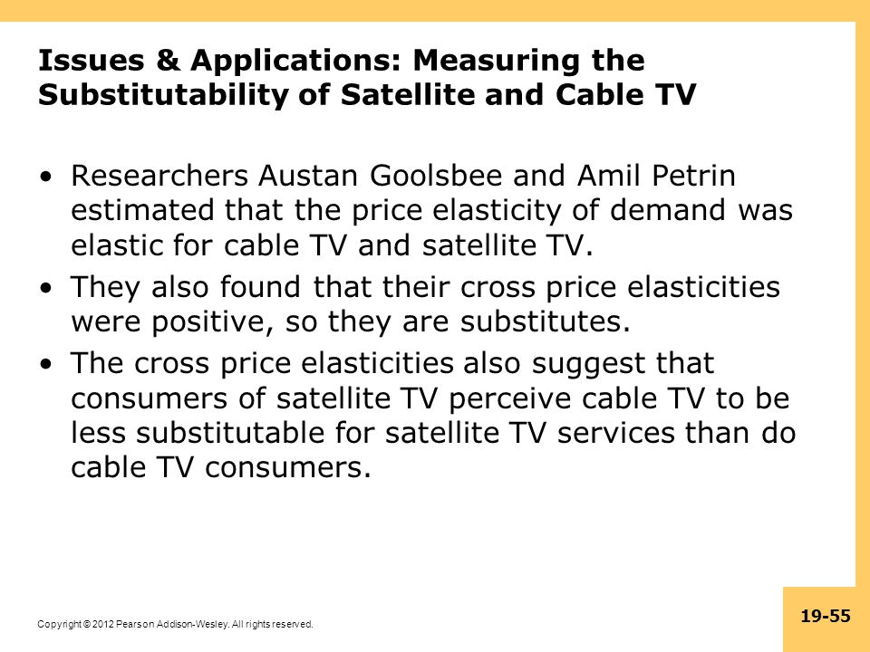 Issues & Applications: Measuring the Substitutability of Satellite and Cable TV