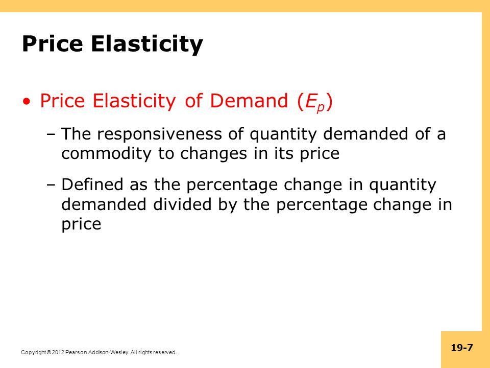 Price Elasticity Price Elasticity of Demand (Ep)