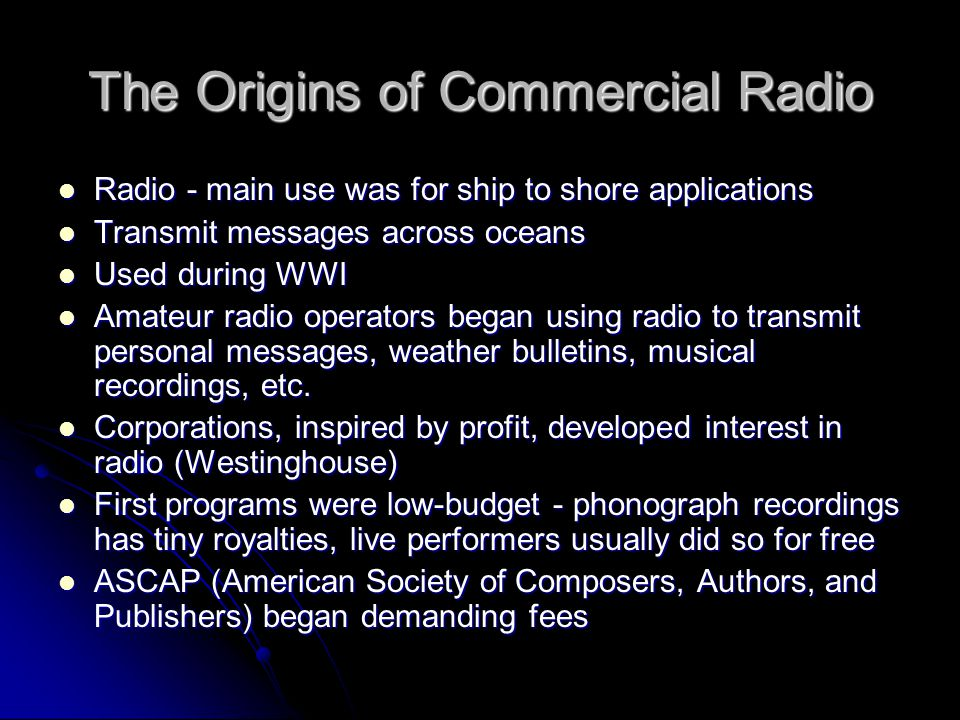 The Origins of Commercial Radio