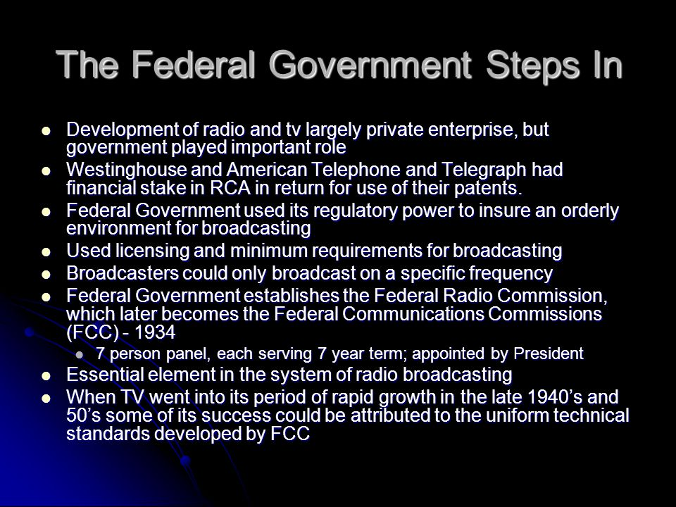 The Federal Government Steps In