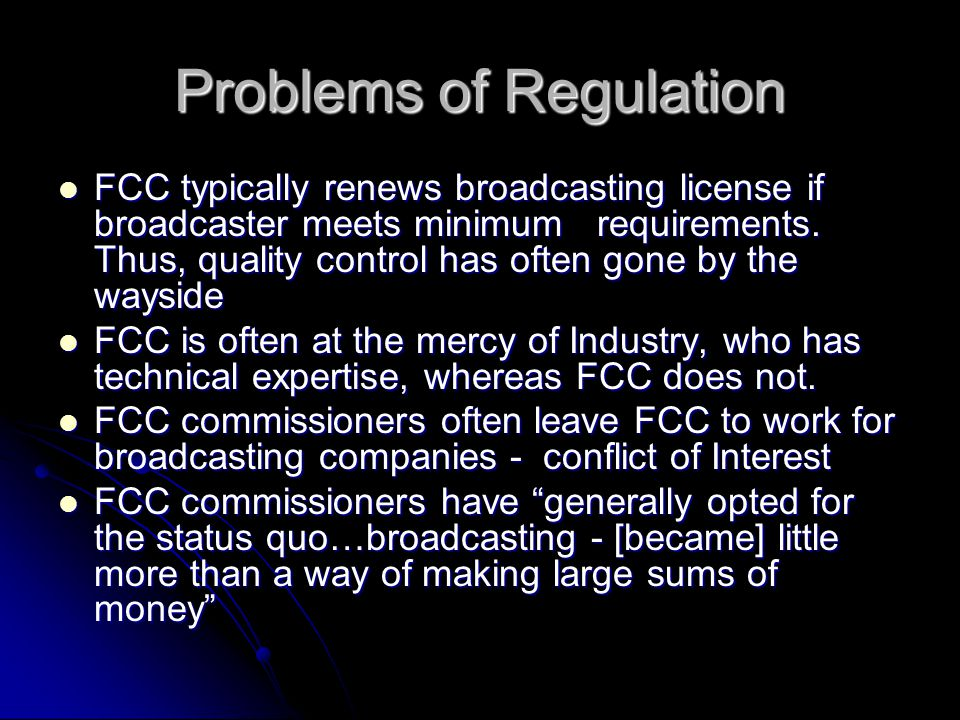 Problems of Regulation